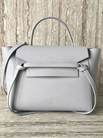 Celine original grained calfskin medium belt bag 98311 light gray