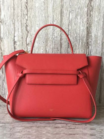 Celine original grained calfskin medium belt bag 98311 red