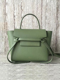 Celine original grained calfskin mini belt bag 99970 green