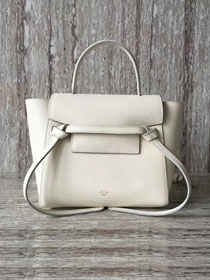 Celine original grained calfskin mini belt bag 99970 white