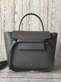 Celine original grained calfskin small belt bag 98310 gray