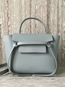Celine original grained calfskin small belt bag 98310 light blue