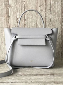 Celine original grained calfskin small belt bag 98310 light gray