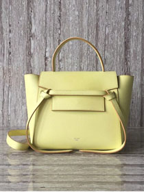 Celine original grained calfskin mini belt bag 99970 light yellow