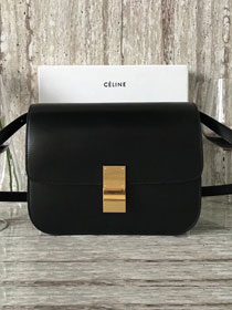 Celine original box calfskin large classic bag 11045 black