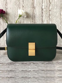 Celine original box calfskin large classic bag 11045 blackish green