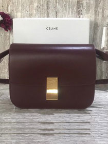 Celine original box calfskin large classic bag 11045 bordeaux