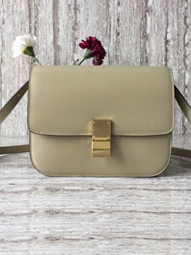 Celine original box calfskin large classic bag 11045 cream grey