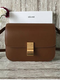 Celine original box calfskin large classic bag 11045 dark coffee