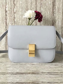 Celine original box calfskin large classic bag 11045 light gray