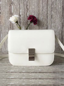 Celine original box calfskin large classic bag 11045 white