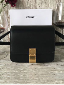 Celine original box calfskin small classic bag 11041 black