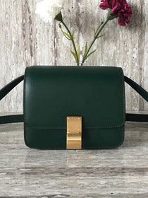 Celine original box calfskin small classic bag 11041 blackish green