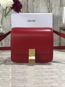 Celine original box calfskin small classic bag 11041 crimson