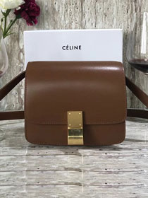 Celine original box calfskin small classic bag 11041 dark coffee