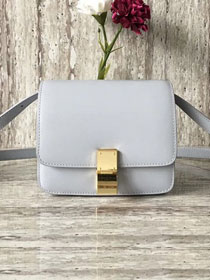 Celine original box calfskin small classic bag 11041 light grey