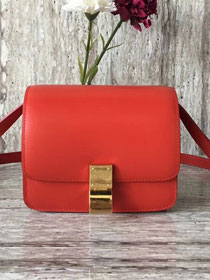 Celine original box calfskin small classic bag 11041 red