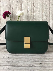 Celine original liege calfskin large classic bag 11045-1 blackish green
