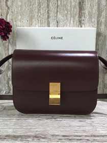 Celine original liege calfskin large classic box bag 11045-1 bordeaux