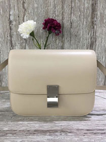 Celine original liege calfskin large classic box bag 11045-1 cream