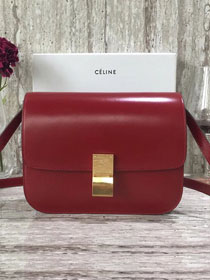 Celine original liege calfskin large classic box bag 11045-1 crimson