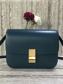 Celine original liege calfskin large classic bag 11045-1 dark blue