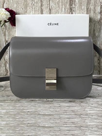 Celine original liege calfskin large classic box bag 11045-1 dark grey
