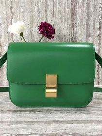 Celine original liege calfskin large classic box bag 11045-1 grass green