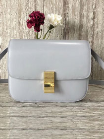 Celine original liege calfskin large classic box bag 11045-1 grey