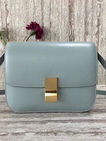 Celine original liege calfskin large classic box bag 11045-1 light blue