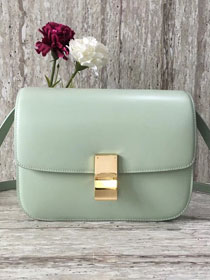 Celine original liege calfskin large classic box bag 11045-1 light green