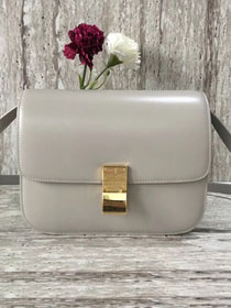 Celine original liege calfskin large classic bag 11045-1 light grey