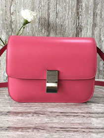 Celine original liege calfskin large classic box bag 11045-1 rose red