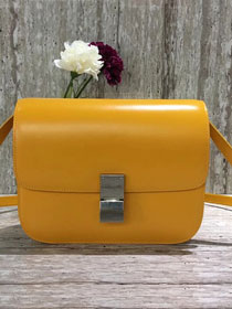 Celine original liege calfskin large classic box bag 11045-1 yellow