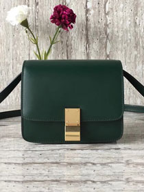 Celine original liege calfskin small classic bag 11041-1 blackish green
