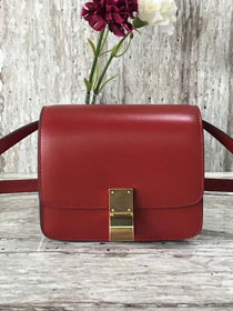 Celine original liege calfskin small classic bag 11041-1 crimson