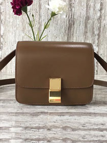 Celine original liege calfskin small classic bag 11041-1 dark coffee