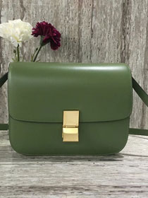 Celine original liege calfskin large classic bag 11045-1 green