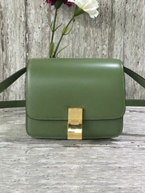 Celine original liege calfskin small classic bag 11041-1 green