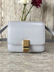 Celine original liege calfskin small classic bag 11041-1 light grey
