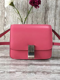 Celine original liege calfskin small classic bag 11041-1 rose red