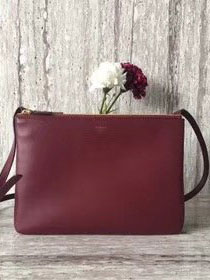 Celine original smooth lambskin large trio bag 55420 bordeaux