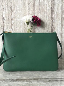 Celine original smooth lambskin large trio bag 55420 green