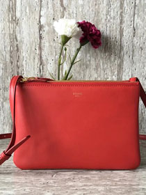 Celine original smooth lambskin large trio bag 55420 red