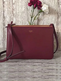 Celine original smooth lambskin small trio bag 55420 bordeaux
