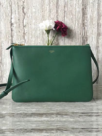 Celine original smooth lambskin small trio bag 55420 green