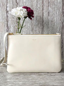 Celine original smooth lambskin small trio bag 55420 white