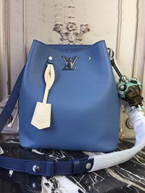 2018 louis vuitton original calfskin lockme bucket M51413 blue
