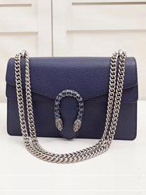 GG original leather dionysus small shoulder bag 400249 navy blue