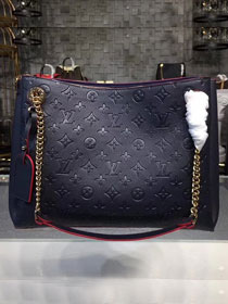2018 louis vuitton original monogram empreinte leather surene mm M43759 navy blue